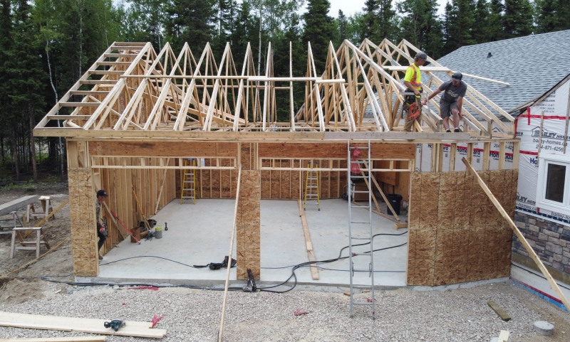 The crew working on a garage near Flin Flon.