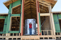 How tall is the fireplace for the Charleston RTM? Way taller than GM Sharon!