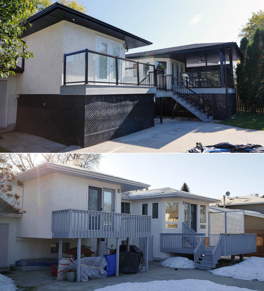 Major reno with new windows, doors, roof, maintenance free deck and new covered roof.