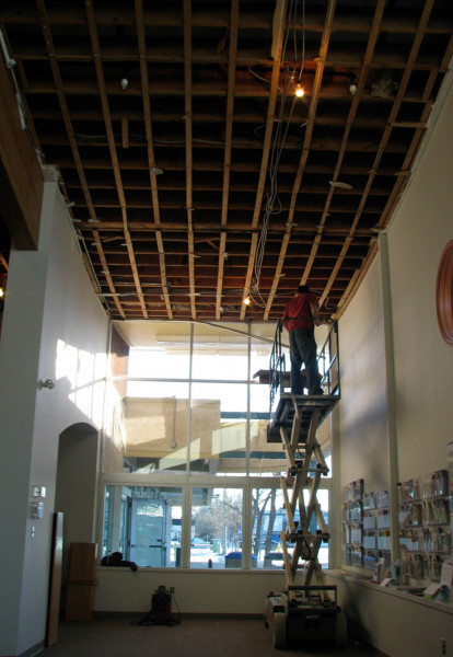 Replaced old ceiling in the Portage la Prairie Centennial Library.