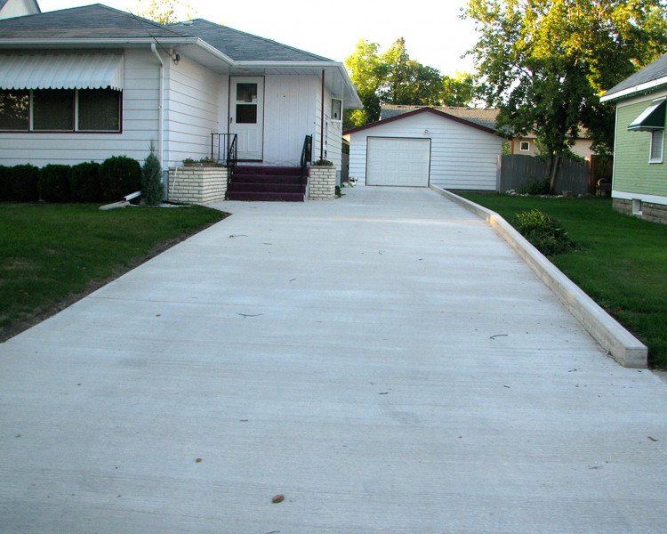 New driveway and curb.
