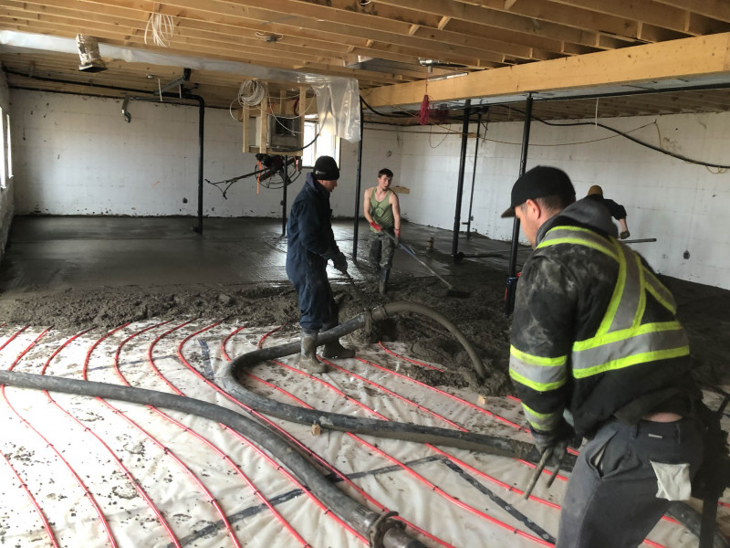Basement floor with in-floor heat.