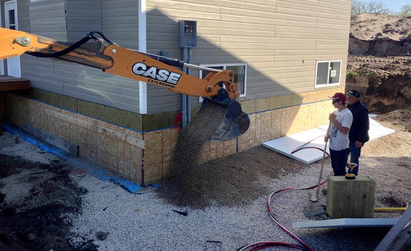 Drainage system and insulation around foundation.