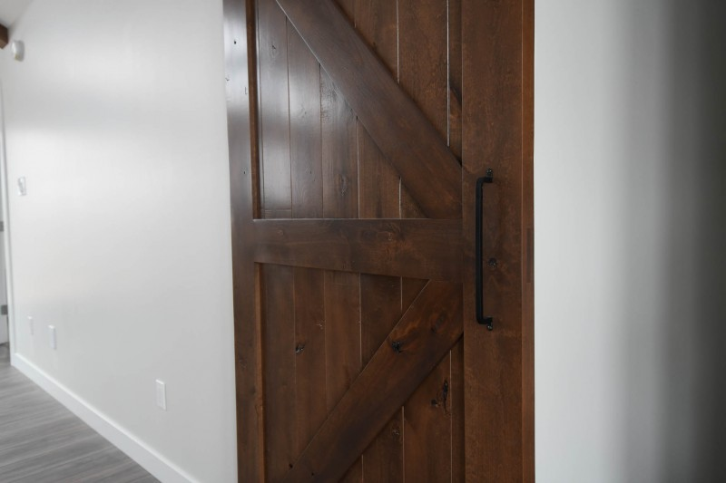 Custom solid wood barn door.